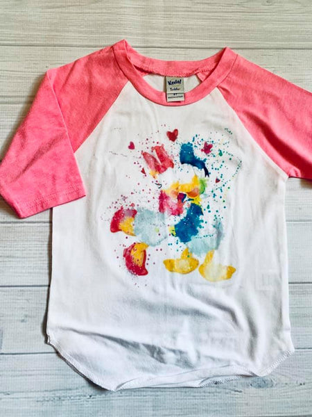 Donald and Daisy - Neon Pink Raglan