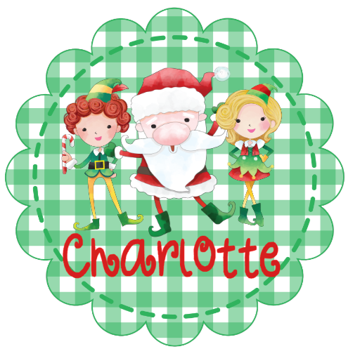 Santa & Elves Gingham Scallop Circle - Personalized Tee