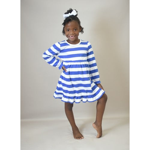 PREORDER - GOWN - BLUE AND WHITE STRIPE