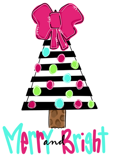 76. Merry and Bright Pink and Aqua Tree -  Christmas Graphic Tee