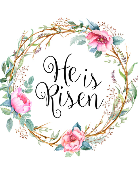 He is Risen Floral Wreath - Graphic Tee