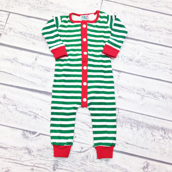 PREORDER ITEM -- GREEN STRIPE - One Piece Kid's Monogrammed Holly Jolly Jammies