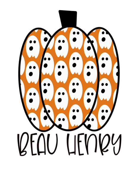 Orange Ghost Pumpkin - Halloween Graphic Tee