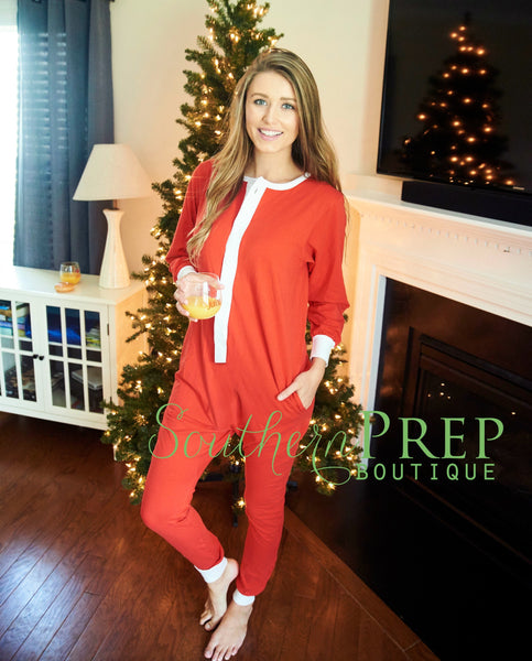 IN STOCK ITEM - Adult - One Piece Holly Jolly Jammies