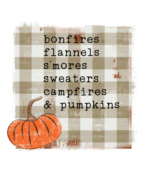 Bonfires, Flannel, S'mores, Sweaters, Campfires, & Pumpkins Plaid - Fall Graphic Tee