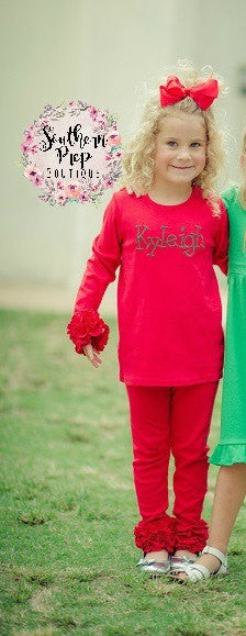 Girl's Long Sleeve Layering T shirt - RED Long Sleeve Ruffle icing top - Icing Shirt - Fall Shirt -Girl's Ruffle shirt -Girl's shirt