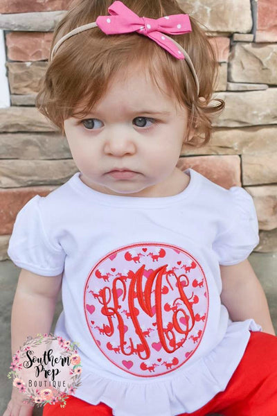 Valentine's Fox Monogram Shirt  - Girl's Valentine's Day Applique Shirt - Girl's Design - Vday shirt - Valentine - monogram shirt