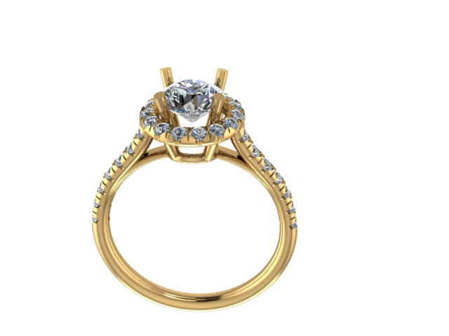 R1110 - Round Halo Ring w/ Stones on Shank