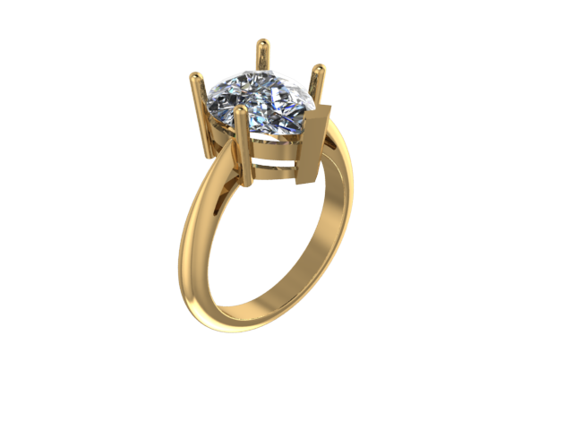 R5001 - 5-P D/W V-Tip Pear Solitaire Ring