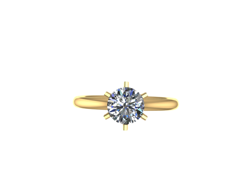 R1003 - 6 Prong Dome Comfort Fit Solitaire Ring