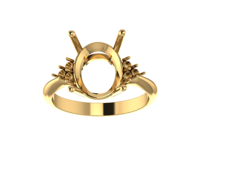 R3004 - D/W Oval Ring w/ 3-Stone Sides