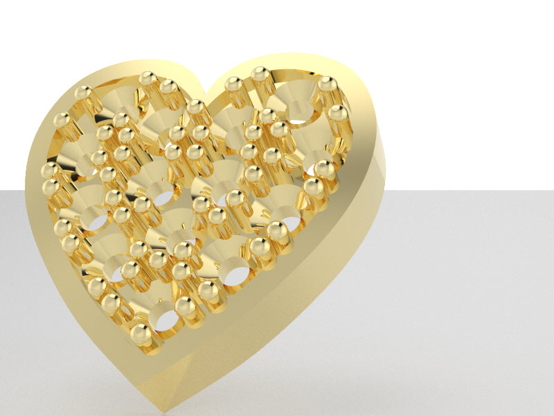 C8116 - Heart Charms ( Heart 8 x 8 , Stone-1.5 mm x 14 pcs )