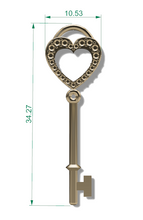 C4108 - Heart Shaped Key Charm