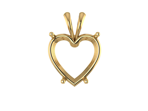 S7002 - 4-P Heart Double Wire Pendant
