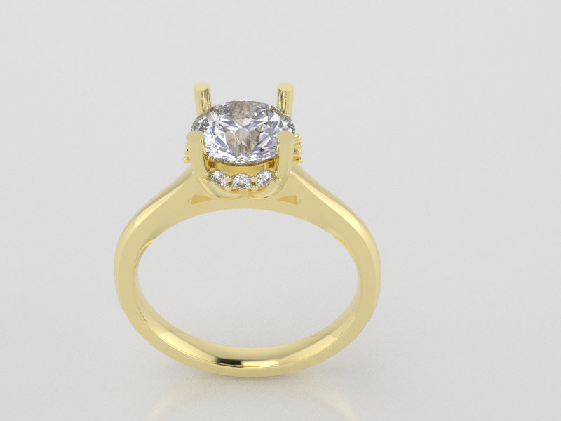 R1119 - Side Halo Round Solitaire Rings