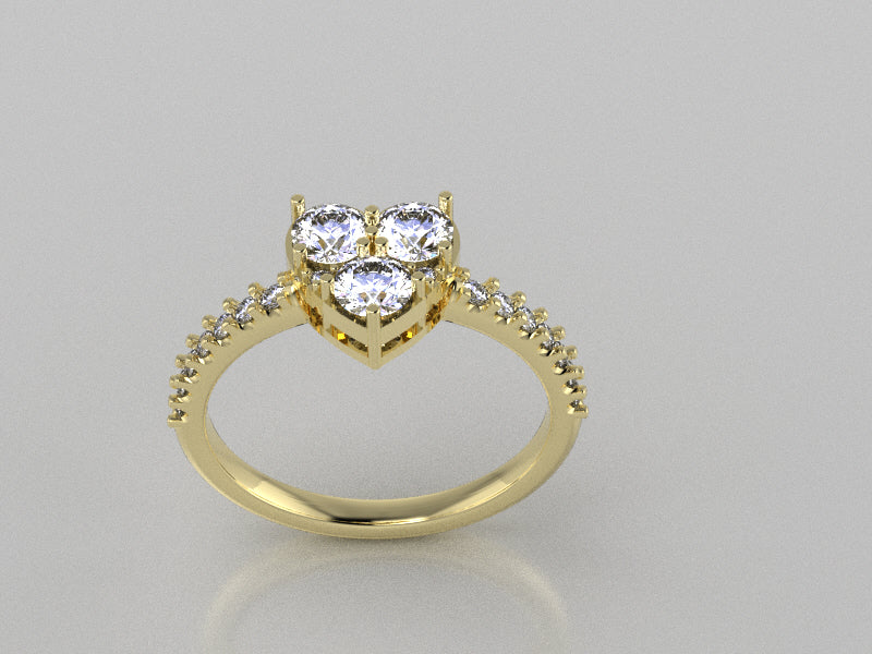 R1127 - Cluster Fashion Rings ( C-3.8 mm x 3 , S-1.5 mm x 14 , 1.2 mm x 2 )