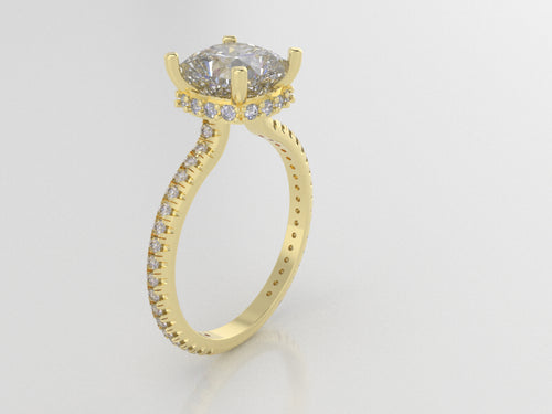 R2103 - 7.5mm Princess Claw Ring w/ 1.2mm Side Halo & Eternity Band