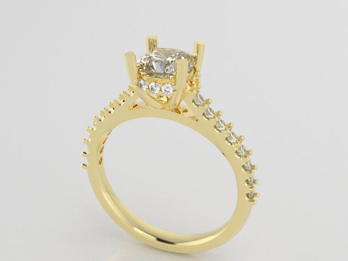 R2104 - Princess Side Halo Rings  (C-6 mm , S-1.7 mm )