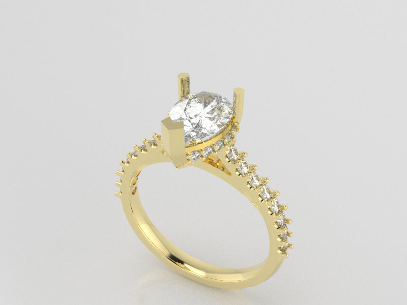 R5103 - Pear Side Halo Prong Rings