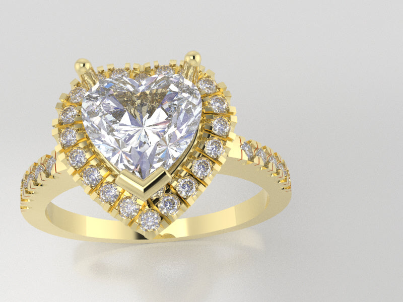 R7110 - Heart Halo Ring (C-7 mm x 7 mm, S-1.3 mm )