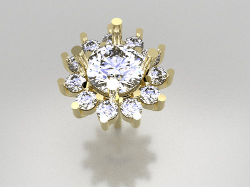 RDCLE12 - Round Halo Earring (2.2 mm x 11 pcs )Flower Prong