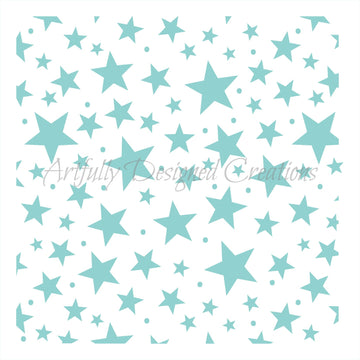 Assorted Star Background Stencil