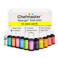 12 colors Set B Chefmaster Liqua-Gel .70 oz