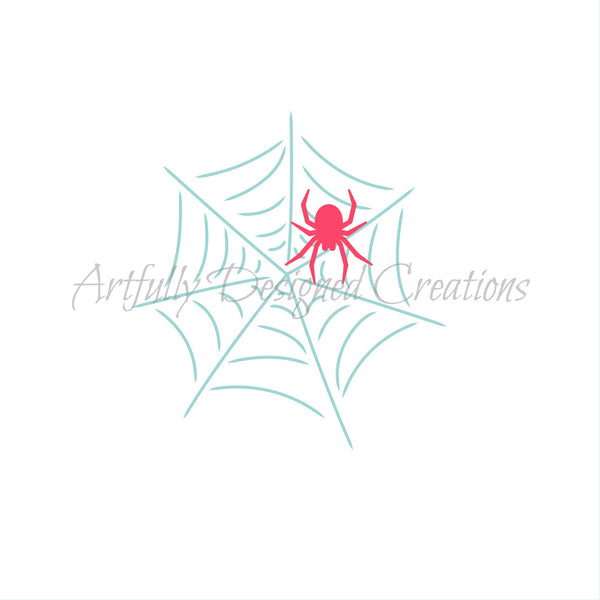 Whimsical Spider Web with Spider Stencil