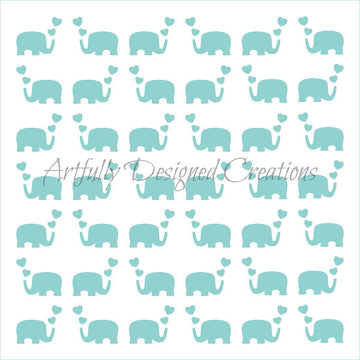 Elephant Hearts Stencil Background