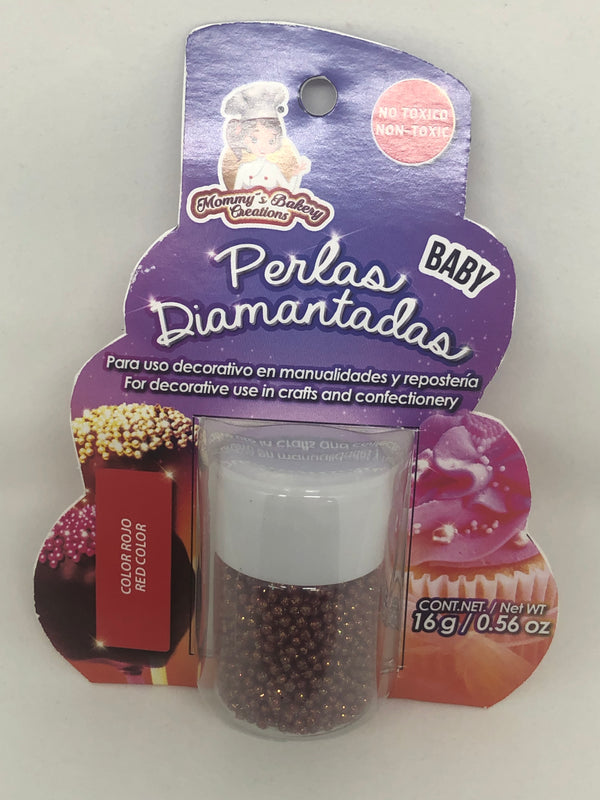 "Glitter Non Pareils ""Perlas Diamantadas Baby"" 16 gm - Red color"