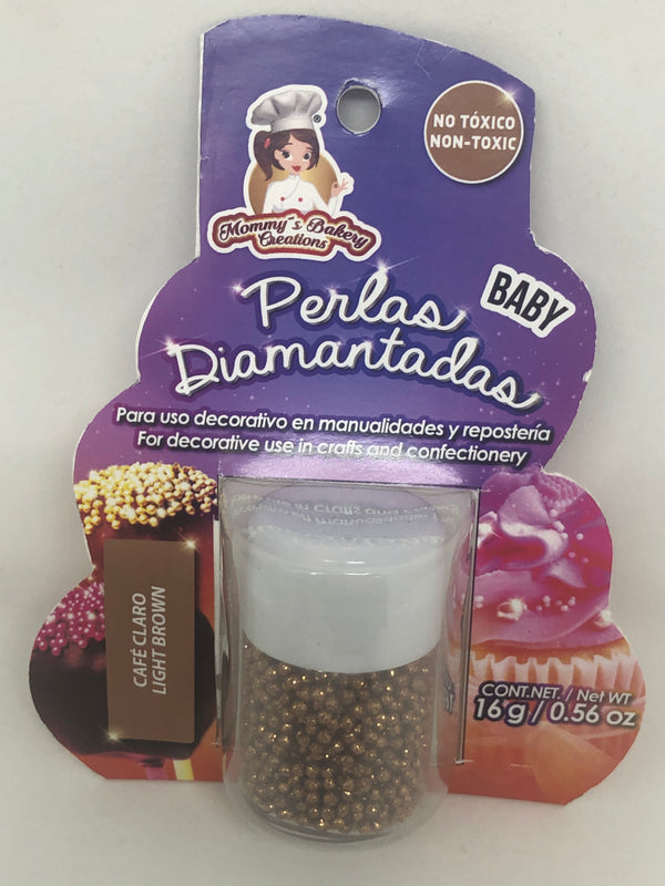 "Glitter Non Pareils ""Perlas Diamantadas Baby"" 16 gm - Light Brown"