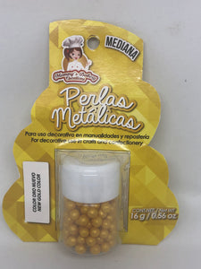 "Metallic Pearls ""Perlas Metalicas"" Medium 4mm 16 gm - New Gold"