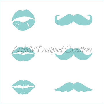 Lips and Mustaches Stencil