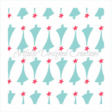 Retro Christmas Tree Background 2 Part Stencil