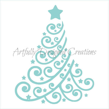 Swirly Christmas Tree Stencil 2