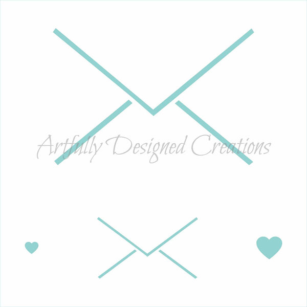 Envelope Heart Stencil