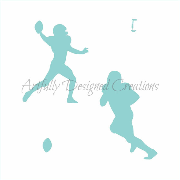 Football Players Silhouette Stencil