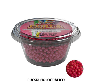 "Glitter Pearls ""Perlas Diamantadas"" 100 gm - Holographic Fuschia"