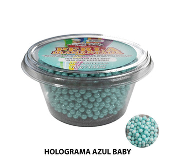 "Glitter Pearls ""Perlas Diamantadas"" 100 gm - Hologram Baby Blue"