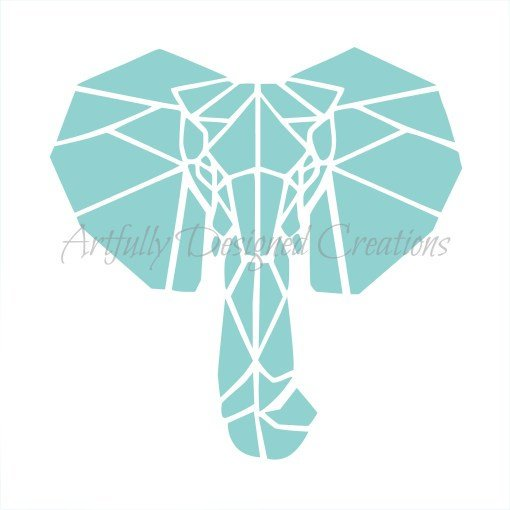 Blyss Geo Elephant Stencil by Artfully Designed Creations