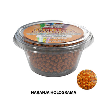 "Glitter Pearls ""Perlas Diamantadas"" 100 gm - Hologram Orange"