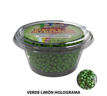 "Glitter Pearls ""Perlas Diamantadas"" 100 gm - Hologram Lime Green"
