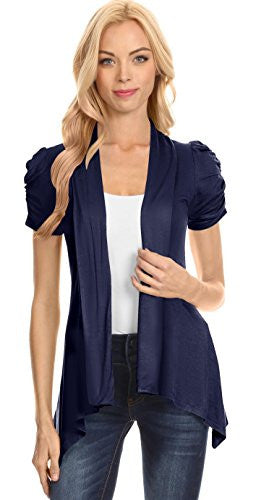 Womens Short Sleeve Cardigan Open Front Ruched Sleeve Asymmetric Flyaway Cardigan - USA