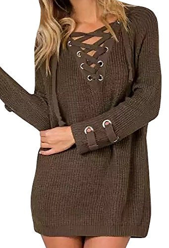 Lovaru Women's Long Sleeve Cozy Lace Up Weave Knit Sweater Pullover Tops
