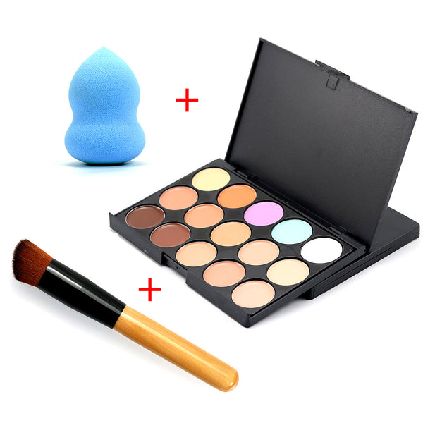 2016 New Professional Brush Puff Foundation Cream Round Face Contour Kit Color Corrector 15 Concealer Palette Makeup Sets