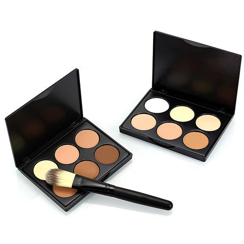6 Colors Contour Face Cream Makeup Cosmetic Concealer Palette + Powder Brush