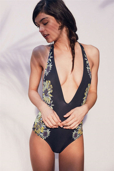 2017 Floral Swimwear Women New One Piece Swimsuit Brazilian Bikini Set Sexy Bandage Bikinis Black Bathing Suit Biquinis BJ244