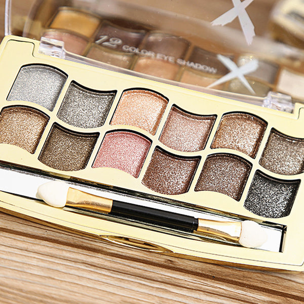 12 Colors Shimmer Bronzers Eye Shadow Palette Perfect for Smokey Eyes Makeup Beauty Tools Cosmetics with Brush