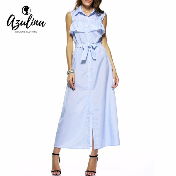 AZULINA Casual Blue Striped Long Shirt Summer Dress with Belt Cold Shoulder Cute A Line Women Ruffles Maxi Dress Split Sundress