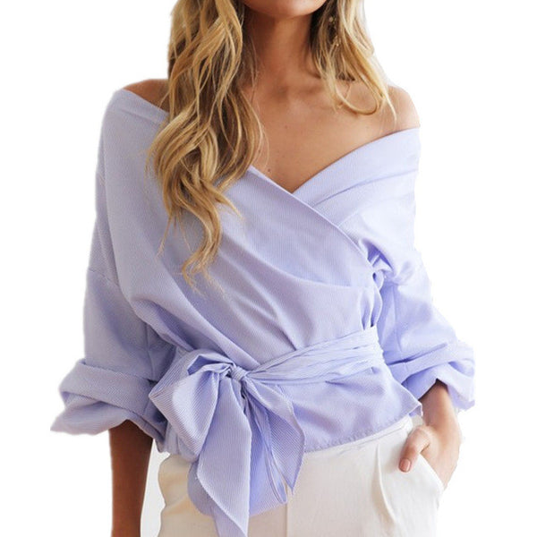 BONJEAN Elegant Bow Tie Off Shoulder Blouse Sexy V-Nevk Puff Sleeve portofino Shirts Womens Autumn White Blue Tops blusas mujer
